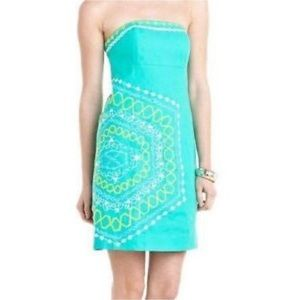 NWT Lilly Pulitzer Embroidered Strapless Dress
